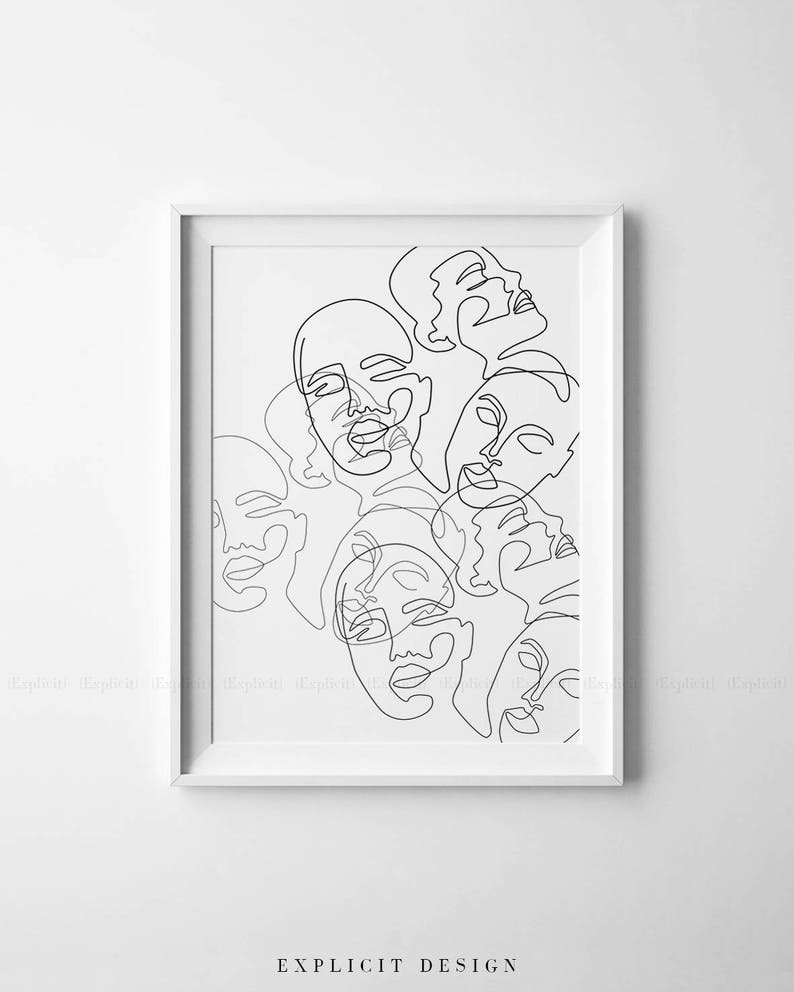 Printable one line faces drawing minimalism art print black etsy