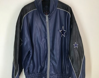 Rare Vintage DALLAS COWBOYS NFL Distressed Leather Jacket 300bf3d57