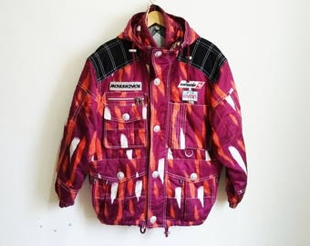 e6c68aed6fa6 Vintage 90s ROSSIGNOL Course All Over Print Winter Hooded Jacket Rossignol  Swissair Evlan Ski Snow Sponsor Winter Jacket Men M Size