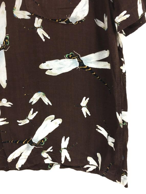 Vintage KARL HELMUT Dragonfly Rayon Hawaiian Shir… - image 4
