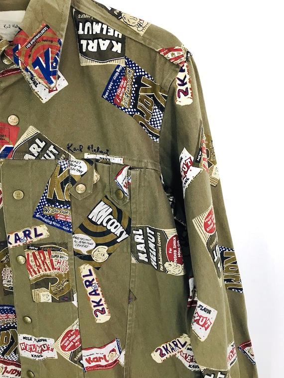 KARL HELMUT Denim Shirt Vintage Karl Helmut All Over Print Patchwork Buttondown Oxfords Japan Shirt LXL