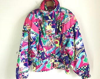 Rare Vintage ASICS Made In Japan Colorful Abstract Ski Winter Jacket