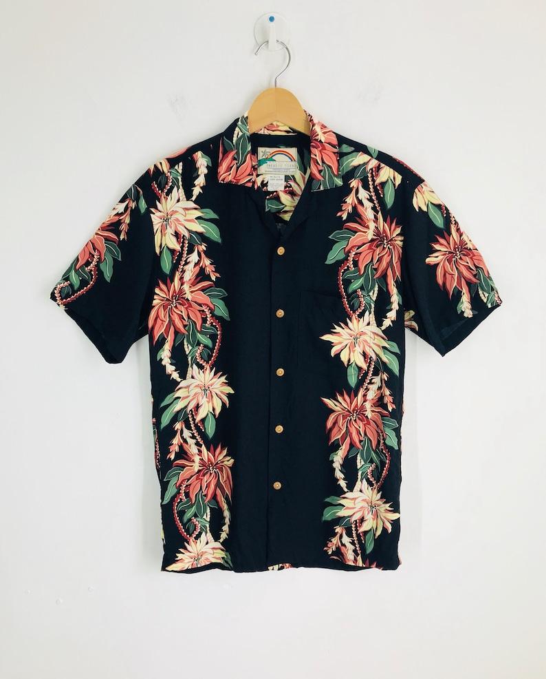 Rare Vintage PARADISE FOUND Floral Striped Hawaiian Shirt Small Size Surf surfing maui summer beach aloha