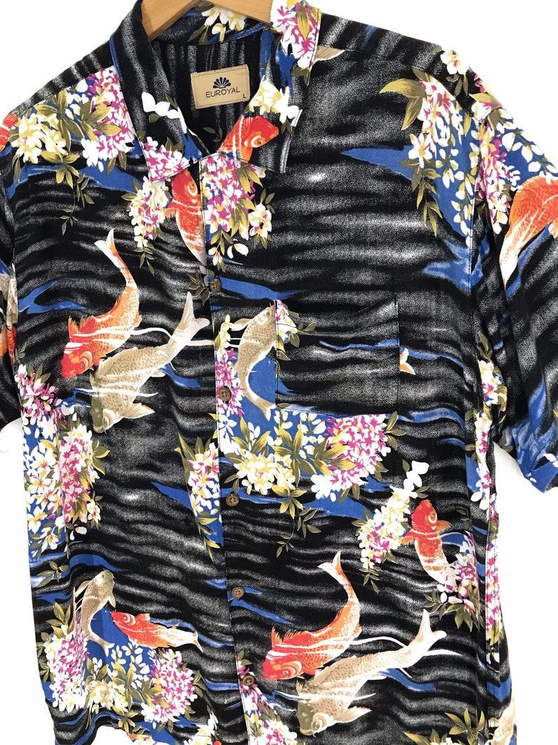 Rare Vintage Japanese Hawaiian EUROYAL Koi Kap Fish 100/% Rayon Shirt aloha summer rockabilly sun surf Japanese Traditional