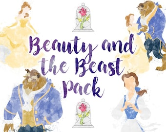 Beauty and the Beast, 5 Illustrations Download Pack, Belle, Disney Princess Poster, Watercolour Art, Printable Instant Download
