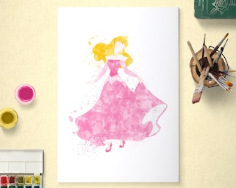 Aurora, Disney Princess, Sleeping Beauty Poster, Watercolour Art, Printable Instant Download