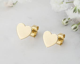 Dainty Gold Heart Earrings, 14K Gold Earrings, Yellow Gold, Tiny Gold Heart, Tiny Earrings, Solid Gold Studs, Girlfriend Gift, Heart Jewelry