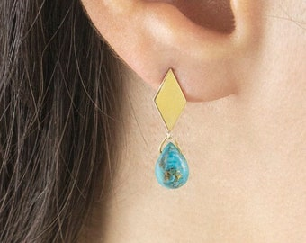 Tiny Dangling Stabilized Turquoise, Rhombus Studs with Birthstone Drop, 9K 14K 18K Gold Earrings, Yellow Gold, December Birthstone Gift