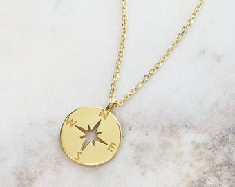 Dainty Compass Charm, 9K 14K 18K Gold Necklace, Yellow Gold, Solid Gold Disc Pendant, Nautical Jewelry, Travel Charm, Engraved Gift For Her