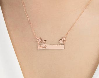 Gold Palm Tree Necklace, Name Date Pendant, Inspiration Word Necklace, Personalized Gift, 9K 14K 18K Rose Gold Necklace, Engraved Name