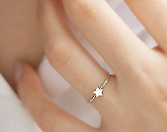 Tiny Star Ring, Gold Star Ring, White Solid Gold Ring, 14K Gold Ring, White Gold, Stacking Rings, Gift For Her, Mini Star Ring, Women's Ring