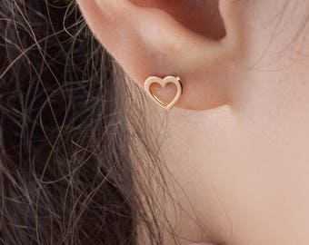 Rose Gold Heart Earrings, 14K Gold Earrings, Rose Gold, Tiny Heart Studs, Gold Stud Earrings, Love Earrings, Gift For Her, Dainty Earrings