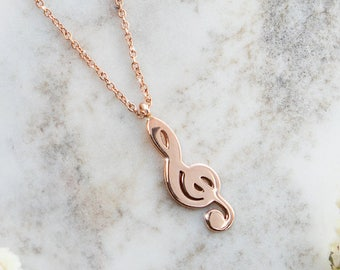 Treble Clef Necklace, Music Note Necklace, Rose Gold Necklace, 14K Gold Necklace, Rose Gold, Statement Necklace, Music Note, Music Jewelry