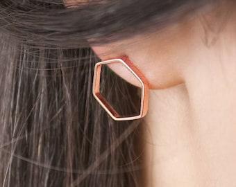 Gold Hexagon Earrings, Rose Gold Earrings, Geometric Earrings, 14K Gold Earrings, Rose Gold, Hexagon Earrings, Women's Gift, Minimal Jewelry