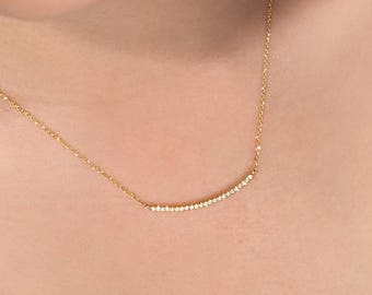 Diamond Gold Bar, 14K Gold Necklace, Yellow Gold, Diamond Necklace, Gold Bar Necklace, White Diamond Bar, Gold Curved Bar, Gift For Women