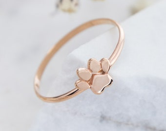 Gold Paw Print Ring, 9K 14K 18K Gold Ring, Rose Gold, Dainty Small Paw Band, Dog Paw Print, Solid Gold Ring, Pet Cat Paw, Gift For Her