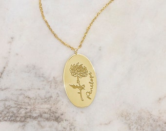 Small Gold Birth Month Flower Pendant, 9K 14K 18K Gold Necklace, Yellow Gold, Custom Name, Engraved Oval Charm, Personalized Floral Gift