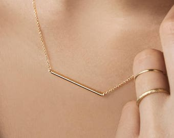 Thin Bar Necklace, Solid Gold Bar Necklace, 14K Gold Necklace, Yellow Gold, Layering Necklace, Horizontal Bar, Gift For Her, Simple Gold Bar