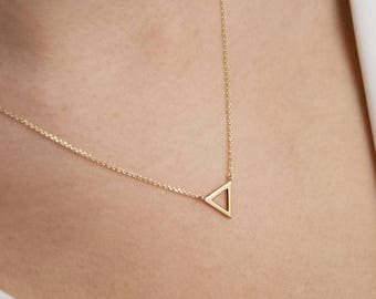 Gold Triangle Necklace, 14K Gold Necklace, Yellow Gold, Gold Triangle Charm Necklace, Water Element, Geometric Necklace, Dainty Triangle