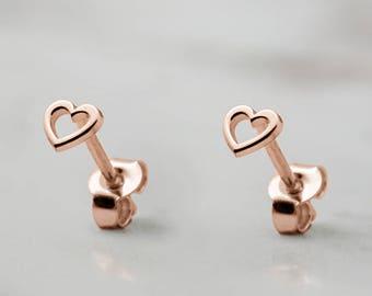 Tiny Heart Earrings, Rose Gold Heart, 14K Gold Earrings, Rose Gold, Small Gold Heart, Women's Earrings, Tiny Stud Earrings, Girlfriend Gift