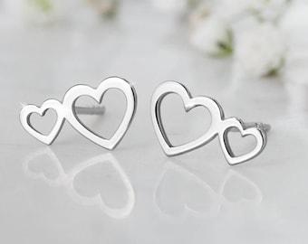 Double White Gold Heart Earrings, 9K 14K 18K Gold Earrings, Solid White Gold, Two Heart Earrings, Stud Earrings, Romantic Girlfriend Gift