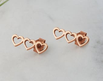 Rose Gold Heart Earrings, Triple Heart Earrings, 14K Gold Earrings, Rose Gold, Tiny Hearts Gold Earrings, Heart Stud Earrings, Heart Jewelry