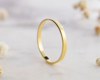 Flat Gold Wedding Band, 9K 14K 18K Solid Gold Ring, Simple Polished Ring, Custom Engraved, Unisex Minimalist Jewelry, Men's or Women's Band