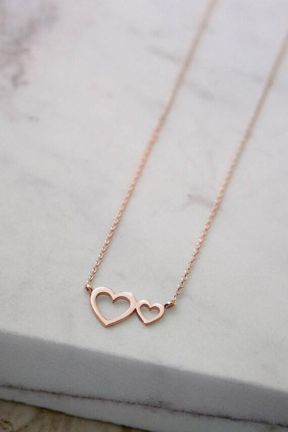 Double Heart Necklace Romantic Pendant 14K Rose Gold  c25b77dd1