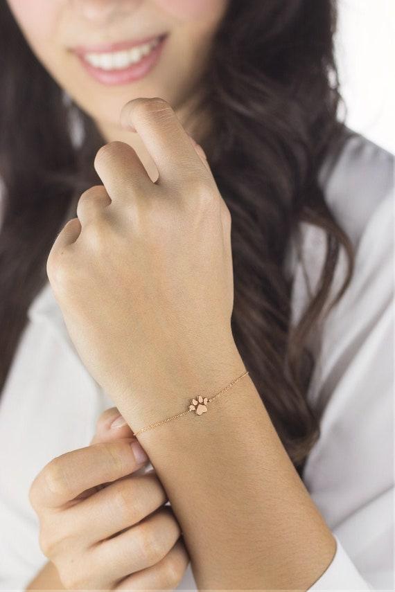 Tiny Paw Print Bracelet, 9K 14K 18K Rose Gold Bracelet, Dog Paw Print, Small Solid Gold Paw Charm, Cat Paw Print, Animal Jewelry, Woman Gift