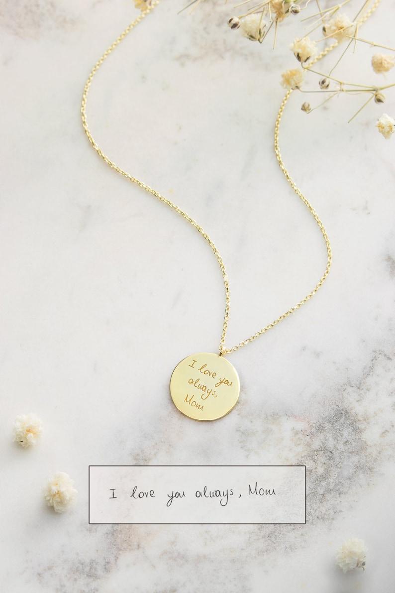 Gold Handwritten Pendant 9K 14K 18K Yellow Gold Necklace image 0