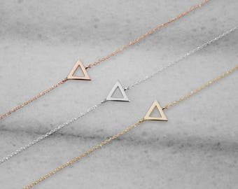 Gold Triangle Bracelet, Delicate Bracelet, 14K Gold Bracelet, White Gold, Gold Triangle, Geometric Bracelet, Triangle Jewelry, Gift For Her