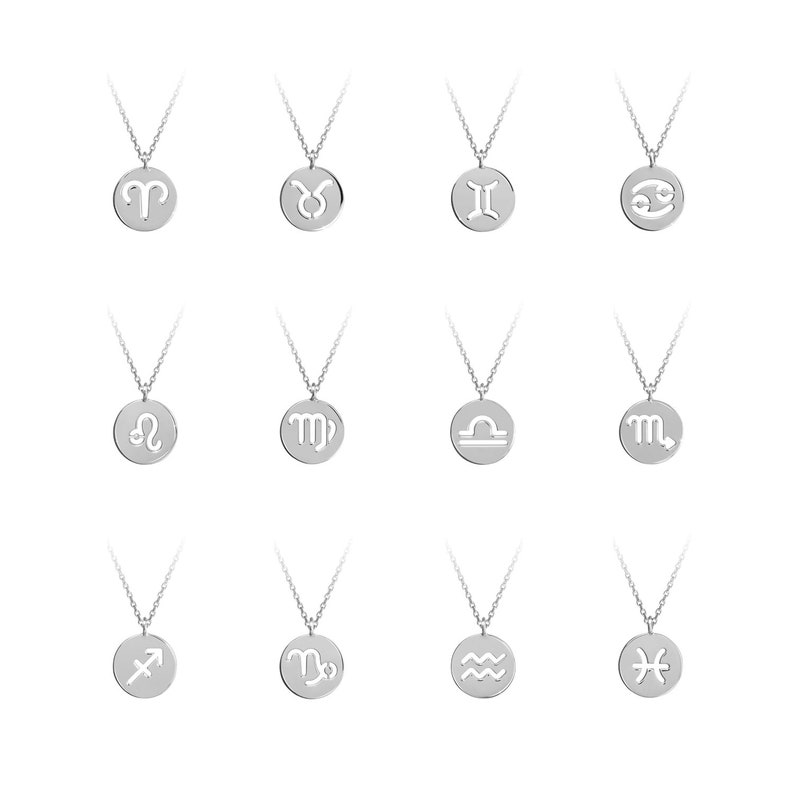 Gift For Her Gold Zodiac Pendant Custom Zodiac Sign Charm White Gold 9K 14K 18K Gold Necklace Solid Gold Sign Horoscope Symbol Charm