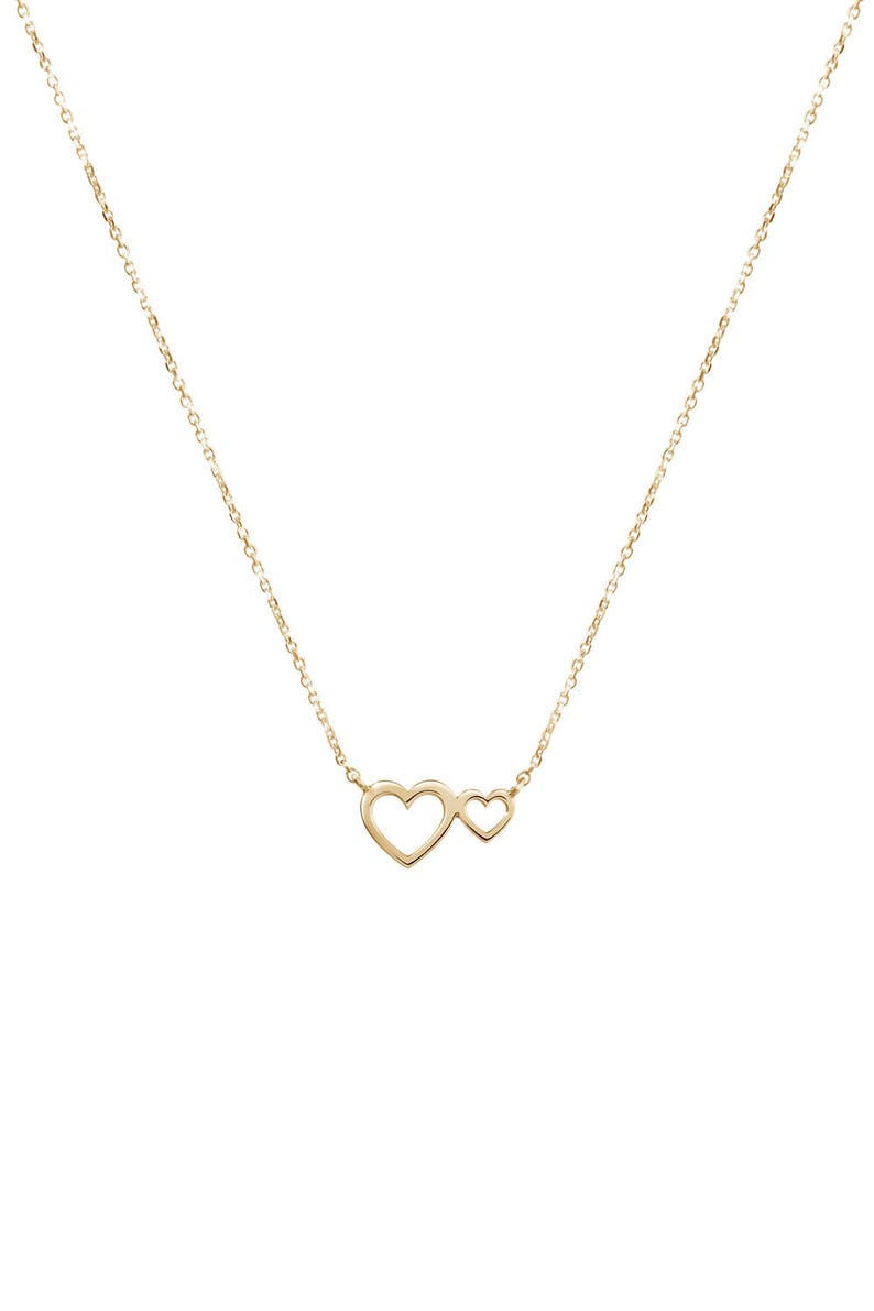 Two-Heart Necklace Romantic Pendant 14K Rose Gold Necklace Gift For Mom Gold Love Heart Women/'s Necklace Double Heart Necklace