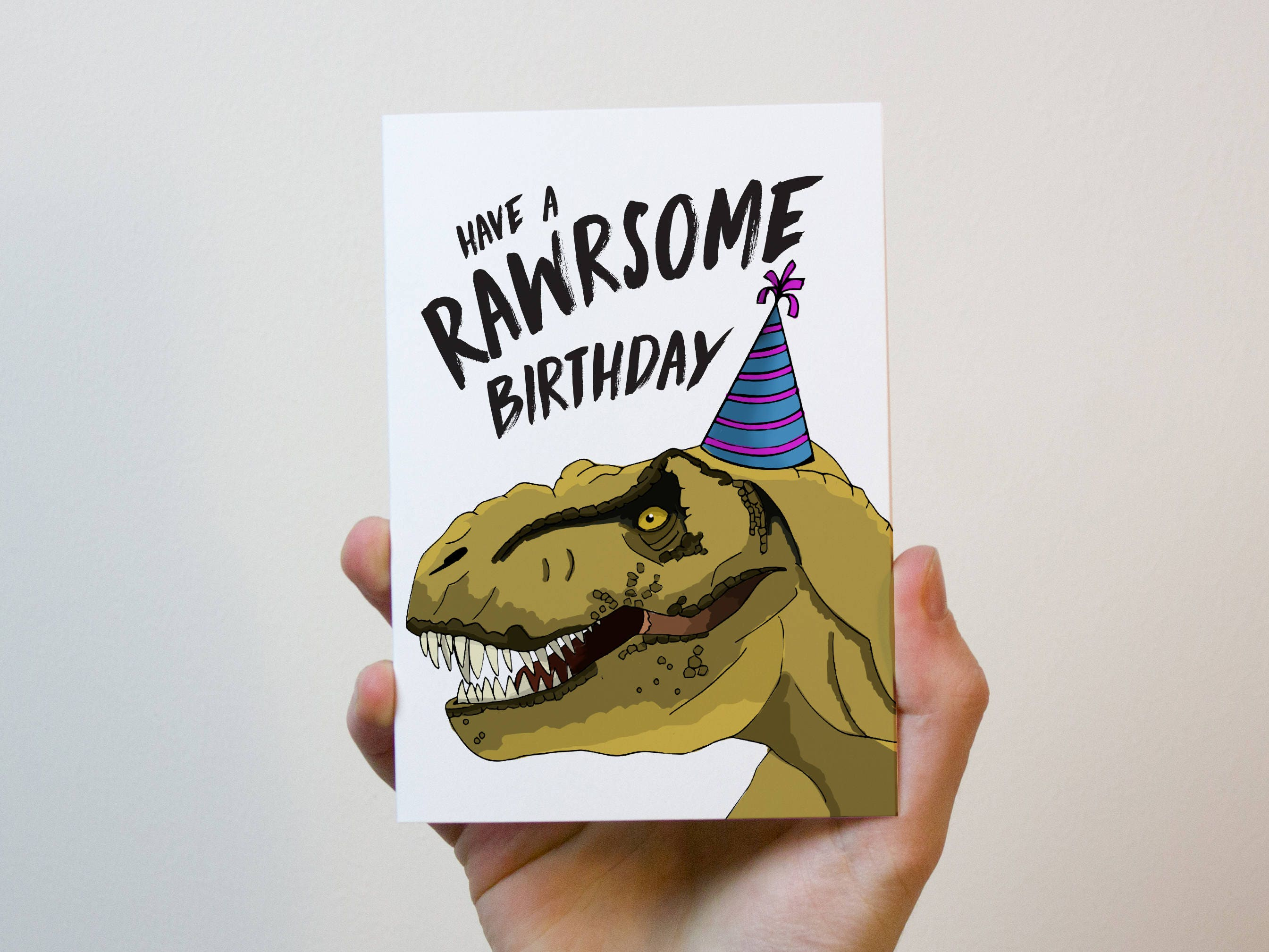 Dinosaur Birthday Card Trex Rawrsome Rawr