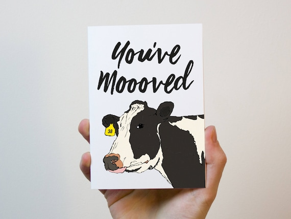 Etsy UK House Warming New Home Card Moving House Card Cow Card with Buttons Funny Card You/'ve mooooved!