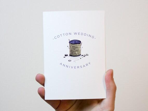 Cotton Wedding Anniversary Card 2 Year Wedding Anniversary