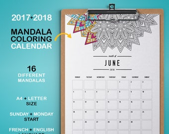2017 2018 PRINTABLE Calendar - Mandala Coloring calendar - Agenda Planner printable - Monthly Page Calendar digital
