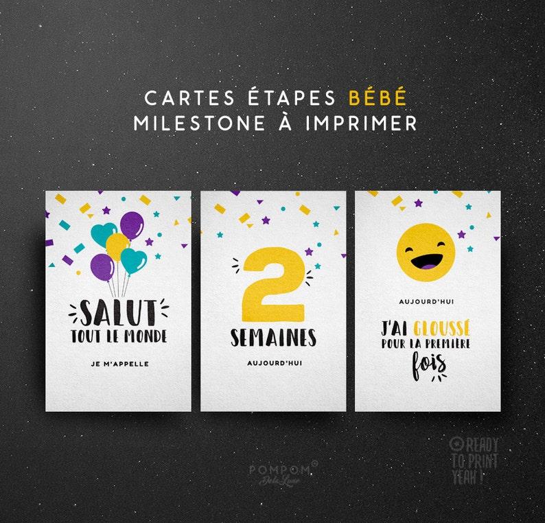 25d5cab372aeb Cartes étapes bébé À IMPRIMER en FRANÇAIS Kit premières fois