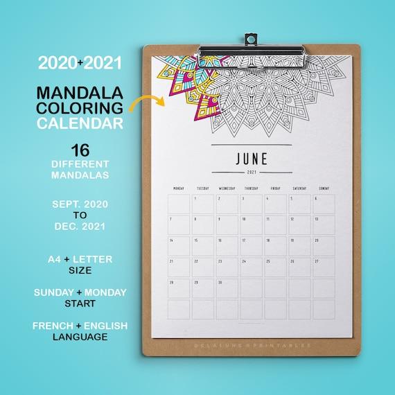 2020 2021 Calendrier imprimable Mandala à colorier Agenda | Etsy