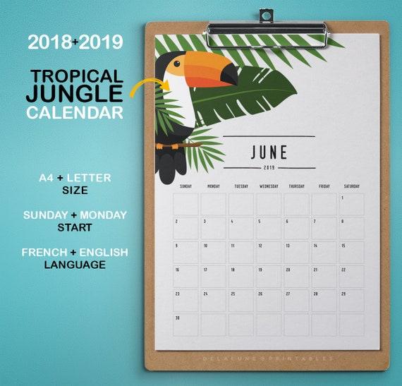 2018 2019 calendrier imprimable jungle tropical agenda