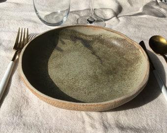 Ceramic Shallow Pasta Bowl - Spotty Blue Orange
