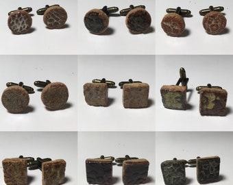 Handmade Ceramic Cufflinks - Ash Blue, Brown, Beige etc