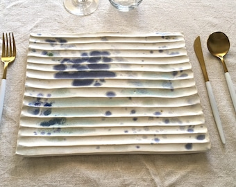 Ceramic rectangle dinner Plate, Serving plate with white clay
