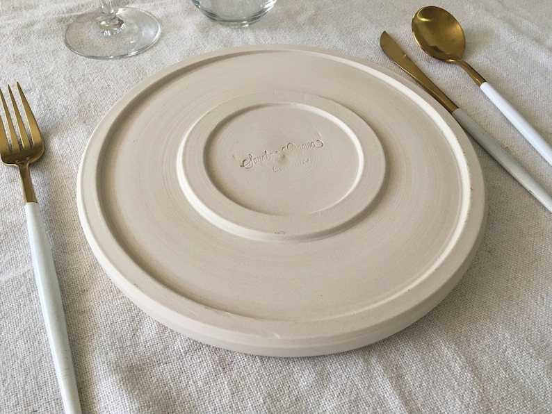 Green Ceramic Dinner Plate 23.5 with white clay