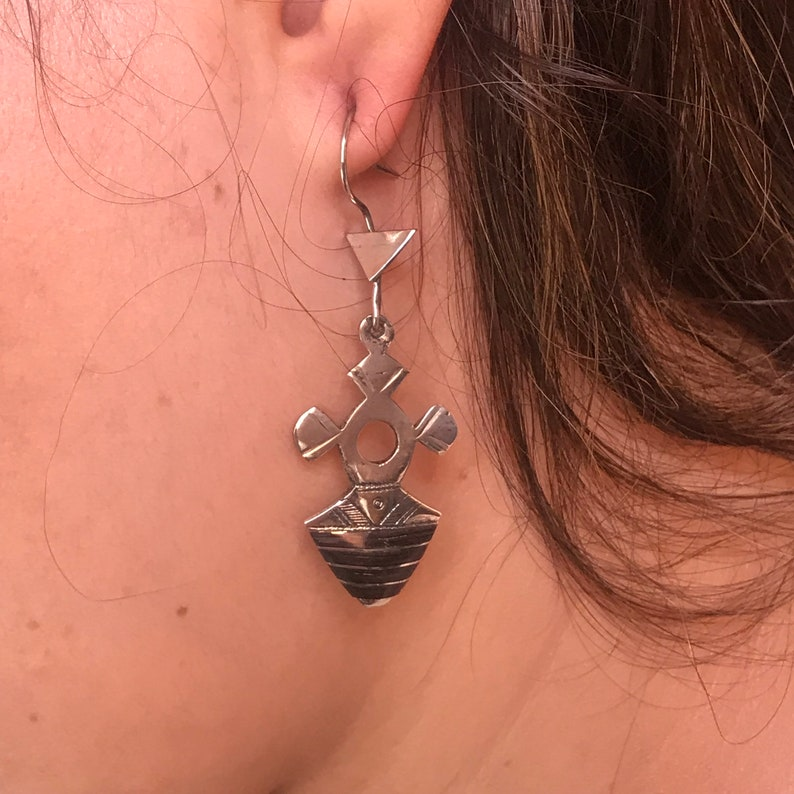 Touareg earrings south cross silver with eony,ethnic tuareg earrings,boho south cros ebony