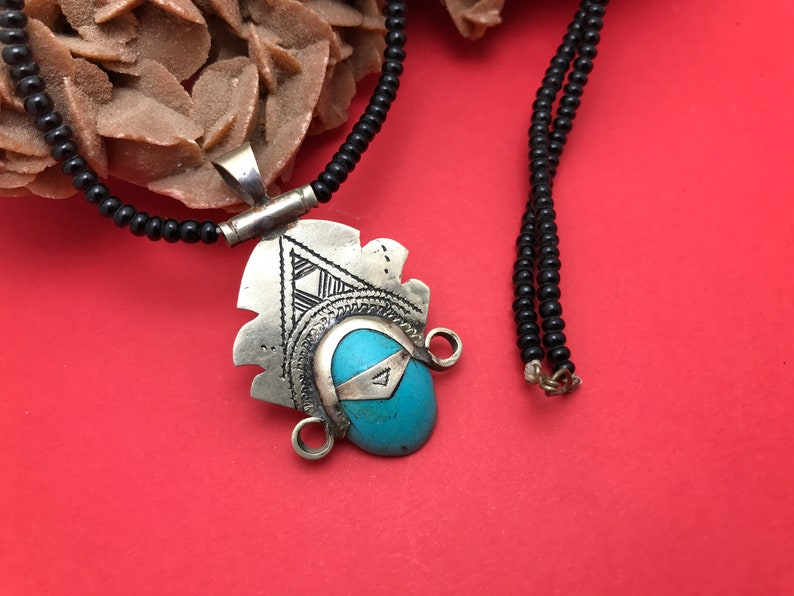 African Necklace Pendant Sterling Silver Ethnic Jewelry Goddess Head Blue Turquoise Oval Tuareg Tribe