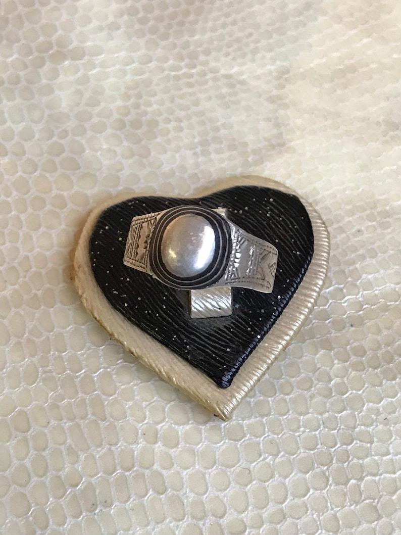 Touareg ebony ring silver handmade ethnic ring Tuareg silver all sizes 9 10 11 US ...
