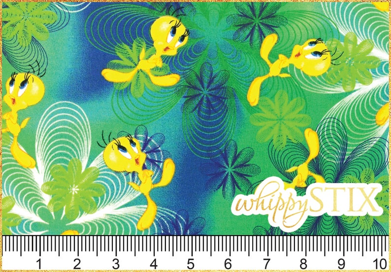 Hard to Find Warner Brothers Looney Tunes 62757 BTY Green Blue Psychedelic Cotton Quilting Fabric Tweety Bird Fabric By the Yard