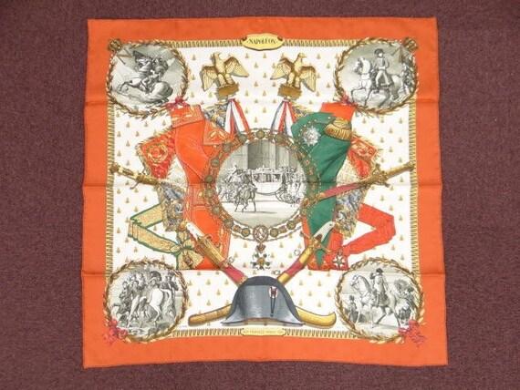 Orange Silk Scarf Silk Hermes Scarves Napoleon Etsy