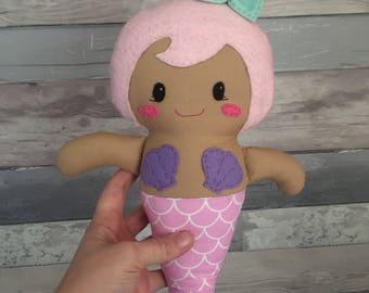 Mermaid plush doll with hair/star colour of your choice